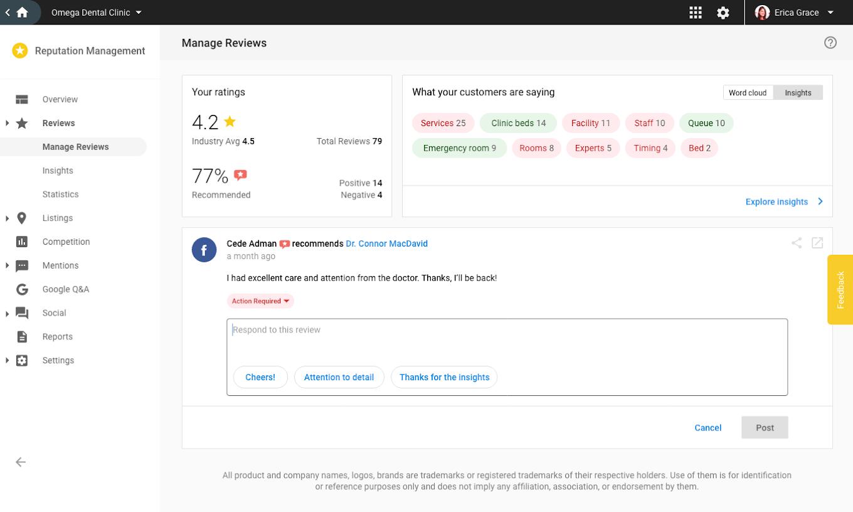 Manage Reviews Screenshot